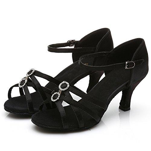 Azbro Mujer Zapato de Baile Ballroom Diamantes Falsos Correa de Cadena Tobillo Puntera Abierta Negro