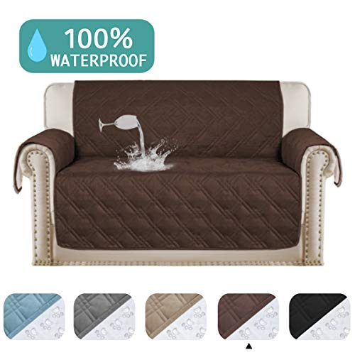"""Turquoize 100% Waterproof Sofa Protector for Leather Couch Cover Slip Resistant Quilted Pet Furniture Covers Brown Protector Cover Non Slip Great for Dogs, Kids, Pets (Oversize Loveseat 75""""x 98"""")"""