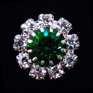 #14062 Medium Rhinestone Rosette Button - Emerald Center - Emerald Rosette