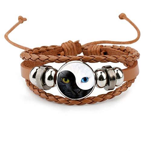 Stone Multi Charm (Giwotu Womens Yinyang Tai Chi Bagua Cat Face Eyes Leather Bangle Black White Women Charm Multi-Layer Bracelet Men Jewelry Brown)