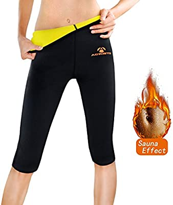 2d38c2e6cf895 Amazon.com  AGROSTE Women s Neoprene Sauna Slimming Pants-Fat Burning Hot  Thermo Sweat Sauna Capris Leggings Shapers for Weight Loss  Sports    Outdoors