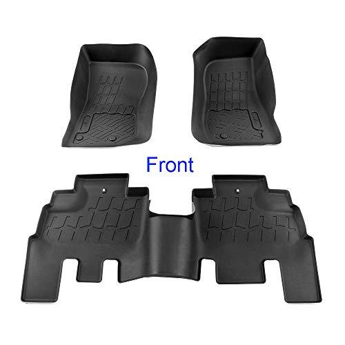 Jeep Wrangler Floor Liner - APS 3 pcs Textured Black Waterproof Floor Liner   2007-2018 Jeep Wrangler JK 4 Door   Front & Rear Floor Mats (Not for JL)