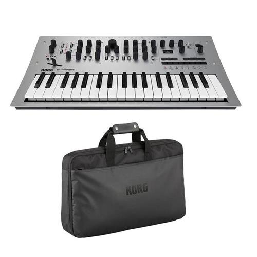 Korg Minilogue 4 voice Analog Synthesizer with 2 Oscillators per Voice and 16 step Sequencer with Custom Soft Case for Analog Synthesizer