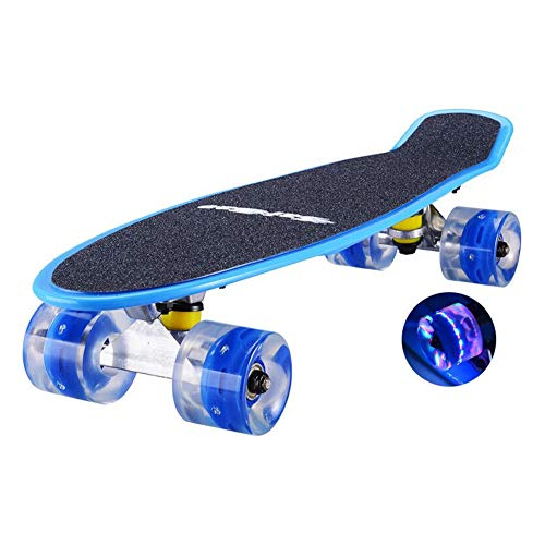 Vortex Skateboard Wheels - Scooters Plastic Skateboard for Kids/Teen/Beginners with 4 Clear LED Light up Wheels, Best Gifts for Girls Boys with Carry Bag (Color : Blue)