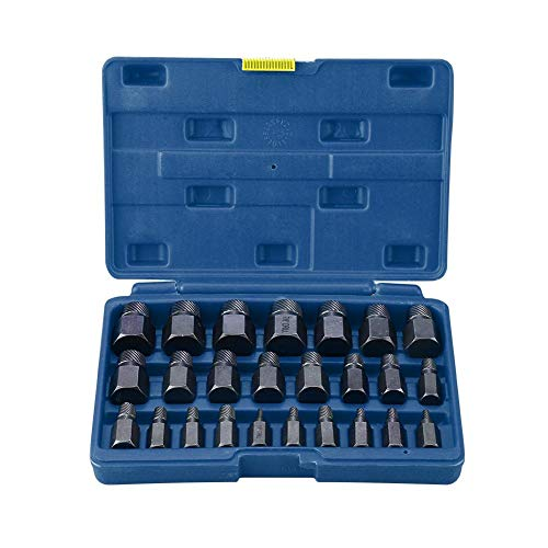 - Multi Spline Screw Extractor Set, 25pcs Multi Spline Screw Extractors Sturdy Designed Tools for Studs Bolts Removal (blue case)