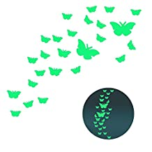 Pershoo Wall Stickers Wall Decals Art Wallpaper Decal Home Decorations Cute Butterfly Glow in the Dark DIY Living Bedroom D¨¦cor for Kids Baby Christmas 25Pcs