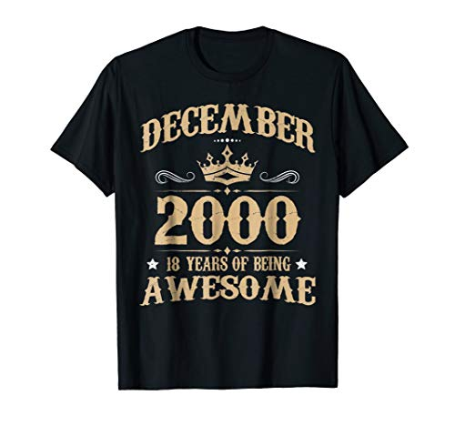 December Awesome 2000 Shirt Vintage 18th Birthday Decoration ()