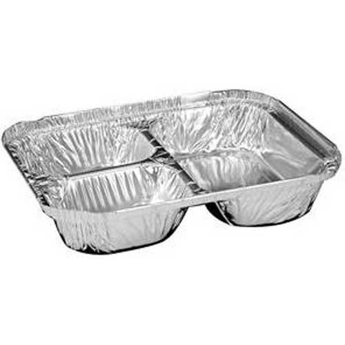 Handi Foil Aluminum Oblong Pan 3 Compartment Tray with Foil Board Lid - 250 per case.