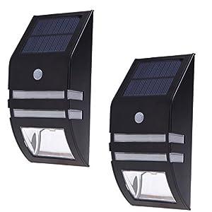 Solar Light, Nekteck Wireless Bright Solar Powered Motion Sensor Light, Street Light, Outdoor Light Security Light, For Patio Deck Yard Garden Home Driveway Stairs Outside Wall Pathway (2 Pack, Black)
