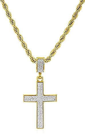 Sandblast Cross Micro Pendant with a 24 Inch 4mm Rope Chain (Goldtone) (C-1071) (Ice Jewelry For Men)
