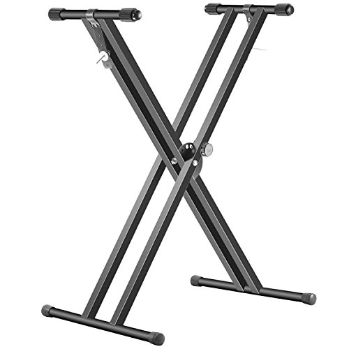 (Neewer Black Folding Solid Iron Double-Braced X-Style Keyboard Stand with Locking Straps and 5-Position Disk Clutch for Easy Height and Width Adjustment)