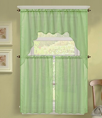GorgeousHomeLinen (K66) 3 PC Solid Voile Rod Pocket Kitchen Window Sheer Curtain Set 2 Tier Panels, 1 Swag Valance (SAGE GREEN)