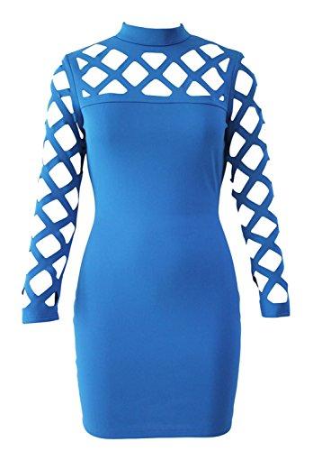 Minetom Mujer Otoño Primavera Turtleneck Vestir Slim Fit Hueco Vestido De Fiesta Manga Larga Bodycon Del Club Del Partido Mini Vestido Azul