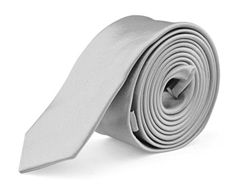 Ties For Mens Skinny Slim Silk Finish Fashion Long Necktie - Solid Color MDR - Silver