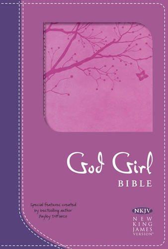NKJV God Girl Bible, Pretty Purple/Berry Pink Duravella, Tree Design (Pink Ribbon Berries)