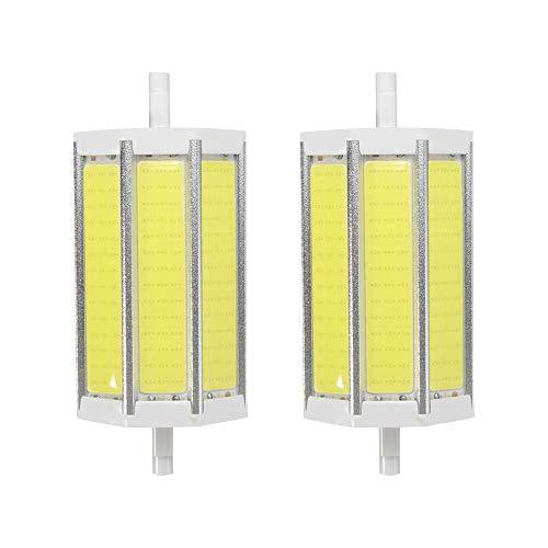 MD Lighting R7S 118MM 10W COB SMD LED Flood Light Spot Corn Light Lamp Bulb No-dimmable Daylight White 6000K LED Corn Light J Type Double Ended 80W R7S J78 Halogen Bulb Replacement,AC 85-265V, 2 Pcs ()