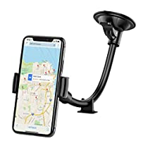 Car Cellphone Holder,Mpow Windshield Mount LongArm Gooseneck Phone Holder Windshield Phone Mount Grip Spring Cellphone Holder Car Cradle Mount with Dash Base for iPhone 6S 6 7 8 5s LG Samsung S7 Note Google HTC & OtherSmartphone