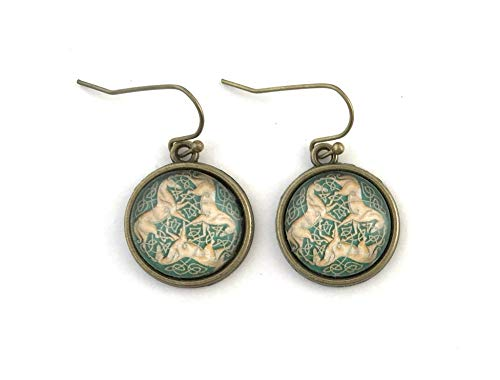 Celtic Horse Earrings - Three Horses with Celtic Knot - Antique Brass - Handmade