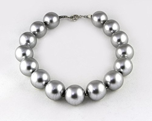 24 MM Pearlized Silver-Tone Bead Necklace - 24mm Bead