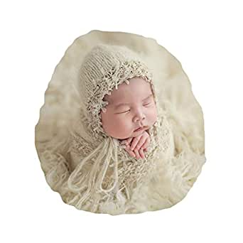 Vemonllas Newborn Baby Photography Props Outfits Hat Long Ripple Wrap Set for Boys Girls Photography Beige