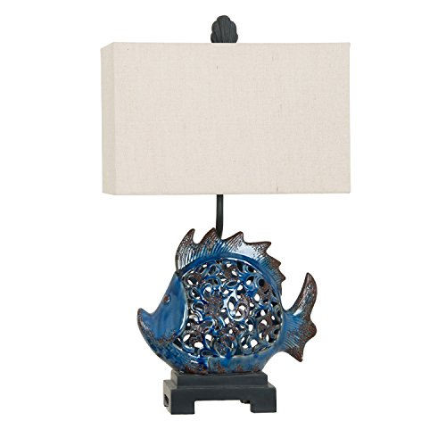 Crestview Scales Blue Ceramic Night Light Table Lamp from Crestview Collection