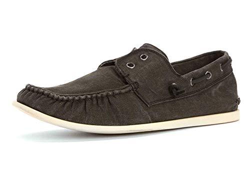 John Varvatos Men's Schooner Boat Shoe,Mineral Black,7.5 M US