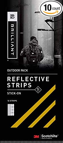Made from 3M Scotchlite Reflective Safety Material Brilliant Reflective Outdoor Reflector Tape: Adhesive Sticker Strips for Gear Gold Pack of 10 Stickers Washable and Waterproof