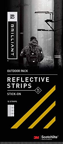 (Brilliant Reflective Outdoor Reflector Tape: Adhesive Sticker Strips for Gear. Made from 3M Scotchlite Reflective Safety Material - Washable and Waterproof - Pack of 10 Stickers (Gold))