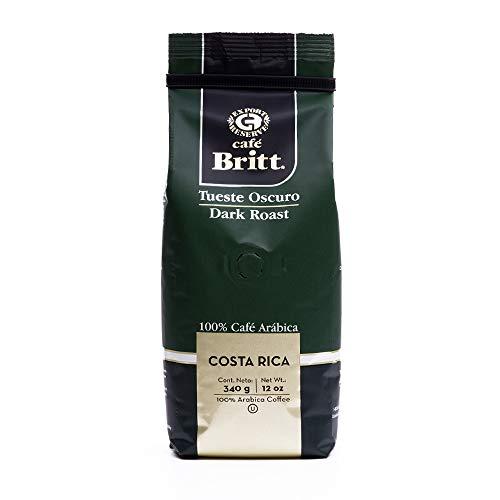 Café Britt® - Costa Rican Dark Roast Coffee (12 oz.) - Whole Bean, Arabica Coffee, Kosher, Gluten Free, 100% Gourmet & Dark Roast (1 Year Shelf-Life)