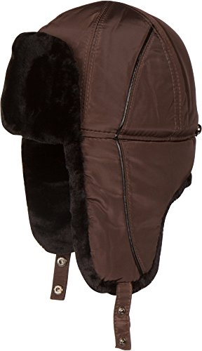 Sakkas 1768 - Victor Adjustable Aviator Trapper Ushanka Hat Warm Faux Fur and Nylon - Brown - M/L