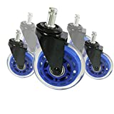 8T8 Rollerblade Office Chair Caster Wheels 3-inch Replacement Heavy Duty Soft PU Rubber Safe for Hardwood Carpet Floors 5 Set (Blue Transparent)
