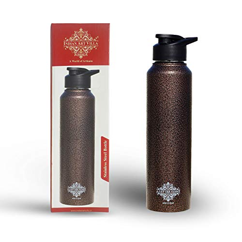 INDIAN ART VILLA Stainless Steel Water Bottle, 1000ml, Antique Copper