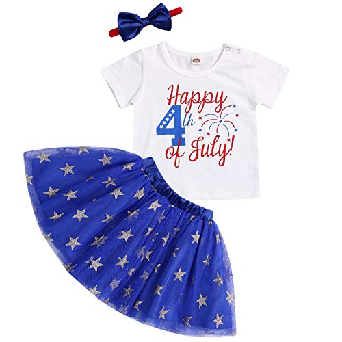 GRNSHTS Happy 4th of July Baby Girls Short Sleeve T-Shirt + Infant Kids Stars Tutu Skirt + Bow Headband Independence Day Outfits (White + Blue, 2-3 - T-shirt Toddler Star