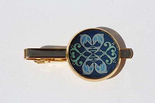 Isla del Sol Tie Clip 2-003 Islas de la Luz Sun yellow blue silver festive Jewelry for Him Mens Accessory Designer Art Gift