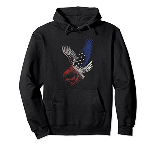 (Unisex Patriotic Hoodie Top Apparel Eagle American Flag USA Clothes Medium Black)