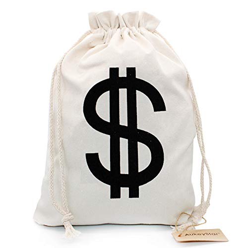 AukeyStar Large $ Canvas Natural Money Bag Pouch with Drawstring Closure and Dollar Sign Design for Toy Party Favors, Bank Robber Costume Cowboy Pirate Theme, Money Sack Coin Bag,16 x 12 inches