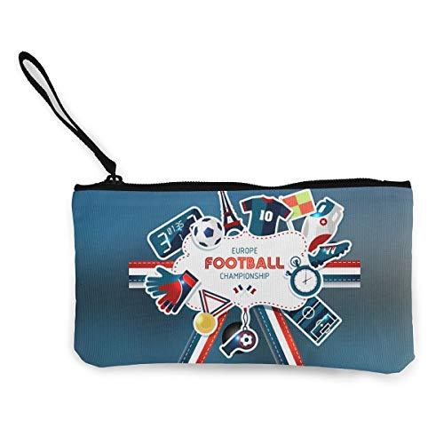 XIANGXIANG SHOP Uefa European Football Championship Canvas Coin Purse Portable Bags Clutch Pouch Storage Bags
