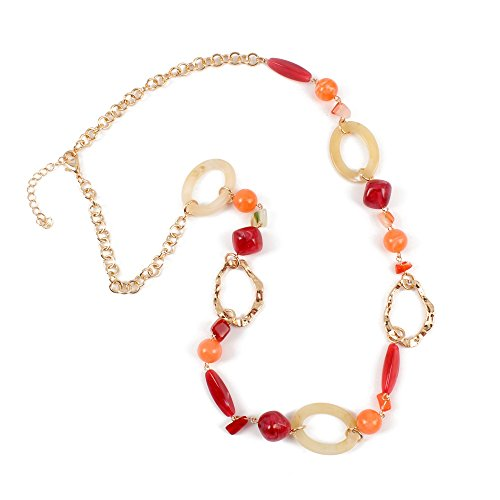 KOSMOS-LI Multicolor Orange Tone Resin Beads Statement Beaded Strand Long Necklace for Women Gift ()