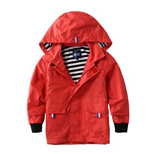 Girls Hooded Coat (M2C Boys & Girls Raincoat Hooded Jacket Outdoor Light Windbreaker 3T Red)