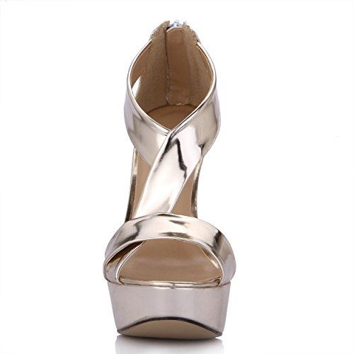 Hoge Hakken Sandalen Vrouwen Stiletto Platform Gouden Enkelband Dames Pumps Dolphingirl Schoenen Prime Goud