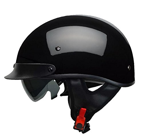 - Vega Helmets Warrior Motorcycle Half Helmet with Sunshield for Men & Women, Adjustable Size Dial DOT Half Face Skull Cap for Bike Cruiser Chopper Moped Scooter ATV (Large, Gloss Black)