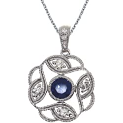 """0.30 Carat (ctw) 14k Gold Round Blue Sapphire and Diamond Filigree Pendant with 18"""" Chain Necklace (5 x 5 MM)"""