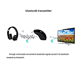 FirstE Portable Bluetooth Transmitter Wireless Connected to 3.5mm Audio Devices Paired with Bluetooth Receiver, TV Ears, Bluetooth Dongle, A2DP Stereo Music Transmission