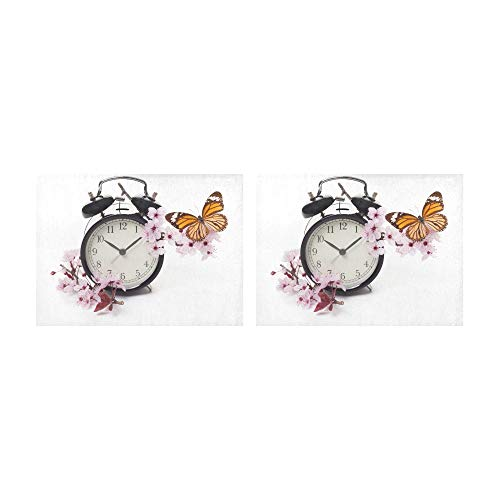 HUAPIN Placemats Clock with Blossoms and Butterfly Table Mats Set of 2 Non-Slip Washable Coffee Mats Heat Resistant Kitchen Tablemats for Dining Table Indoor Outdoor14'' X 19''(35x48cm) Blossoms And Butterflies Clock