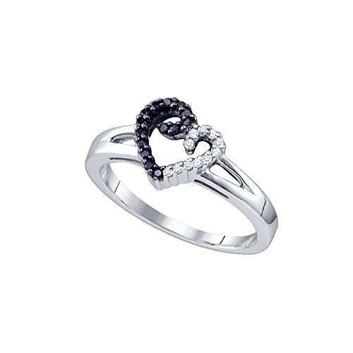 Sterling Silver Black Colored White Diamond Heart Love Ring 1/6 Cttw Size 6 by JAWAFASHION