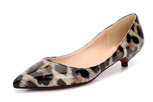 Leopard Patent Leather Heels (CAMSSOO Women's Leopard Print Slip On Pointed Toe low heels Pumps Ladies Shoes Grey Patent Leather 9 US M )