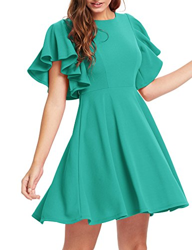 Romwe Women's Stretchy A Line Swing Flared Skater Cocktail Party Dress Teal Blue XS]()