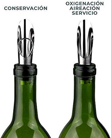 Stockpiler - Escanciador de vino con vertedor antigoteo - Decantador oxigenador de vino - (Pack de 2) Regalo vino