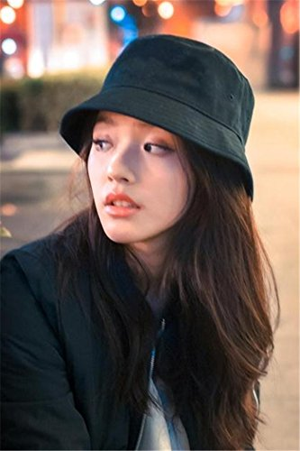Generic Korean version of the new simple Beautiful Lin Yun same style black hat cap bucket hats women girls lady autumn and winter fashion casual man boy influx of (Trim Bucket Hat)