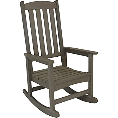 Sunnydaze Outdoor Patio Rocking Chair, All-Weather Faux Wood Design, Gray - OVERALL DIMENSIONS: Porch rocker measures 26 inches wide x 30 inches deep x 45 inches tall; Weighs 33.2 pounds; Weight capacity of 300 pounds, so it is ideal for most adults COMFORTABLE SITTING SPACE: Roomy seat is 20 inches wide x 20 inches deep x 16-inch seat height; Seat back: 20 inches wide x 27.5 inches tall with a 5.25-inch gap between the seat and seat back; 1.5-inch slat gaps; Arm dimensions: 3 inches wide x 23 inches deep x 26.5 inches from ground BEAUTY OF WOOD WITHOUT MAINTENANCE: High-density polyethylene is waterproof and weather-resistant so it doesn't require sealing or staining with a wood-like design gives you the best of both worlds - patio-furniture, patio-chairs, patio - 41SYwtYV3xL. SS400  -